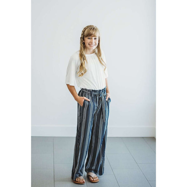 Tessa Palazzo Pants - Navy & White Stripe,bottoms,LeleGray.com