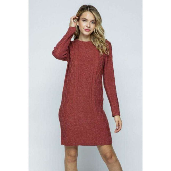 Thea Cable Knit Sweater Dress - Marsala