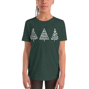 Three Trees Youth Short Sleeve T-Shirt,Heather Forest / S,,LeleGray.com