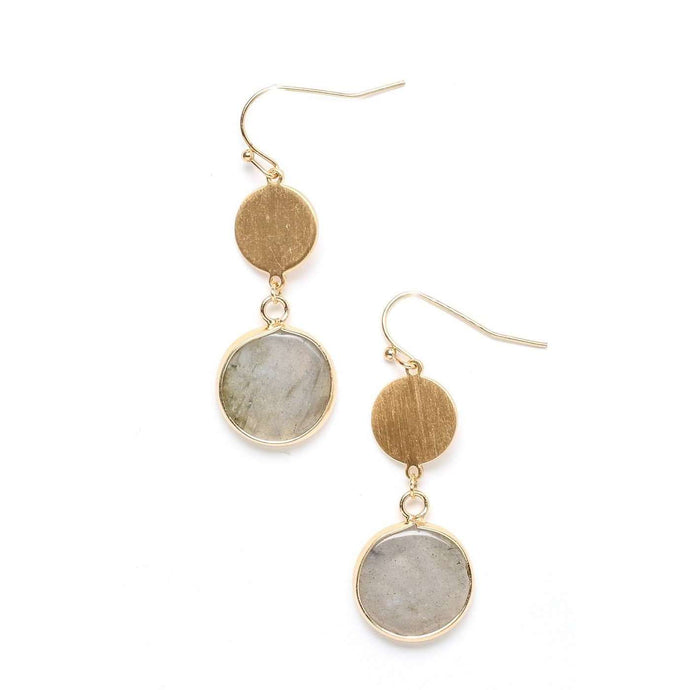 Tiered Double Disc Dangle Earrings - Gray, Red, & Green,Gray,Jewelry,LeleGray.com