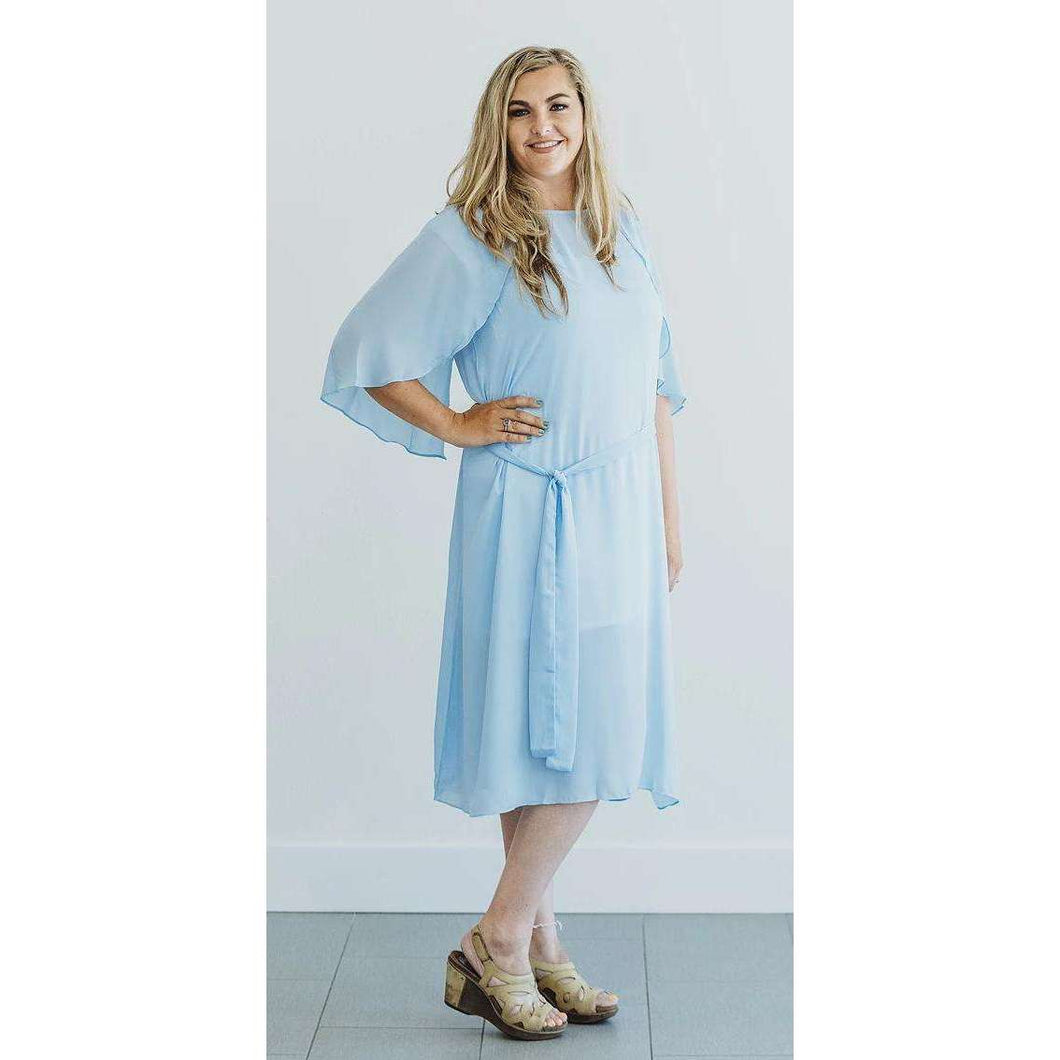 Verona Flutter Sleeve Midi Dress - Blue,Womens Dresses,LeleGray.com