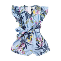 Veronica Shorty Romper - Blue Tropical,Top,LeleGray.com
