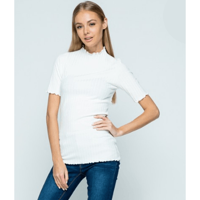 Willow Short Sleeve Mock Neck Top - Ivory,womens top,LeleGray.com