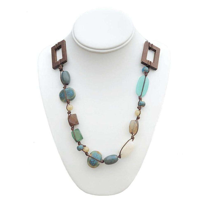 Wood And Turquoise Beaded Necklace,Jewelry,LeleGray.com