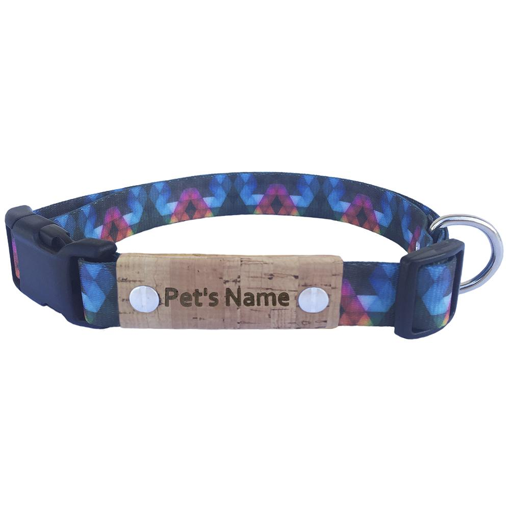 Geometric Blue Personalized Dog Collar