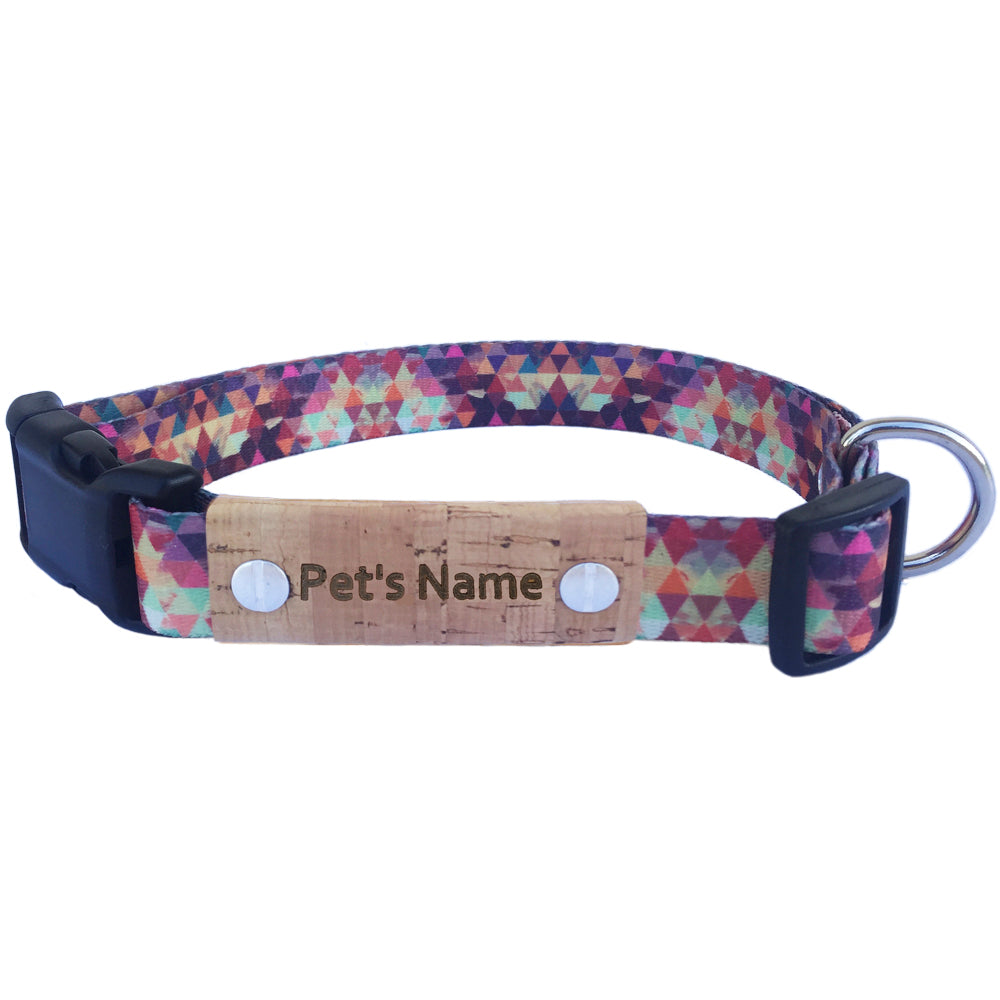 Geometric Red Personalized Dog Collar
