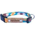 Geometric Light Blue Personalized Dog Collar