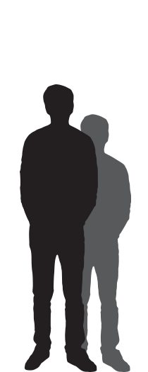 outline of a person representing an estimated height of 4 foot to 4 foot 5 inches tall
