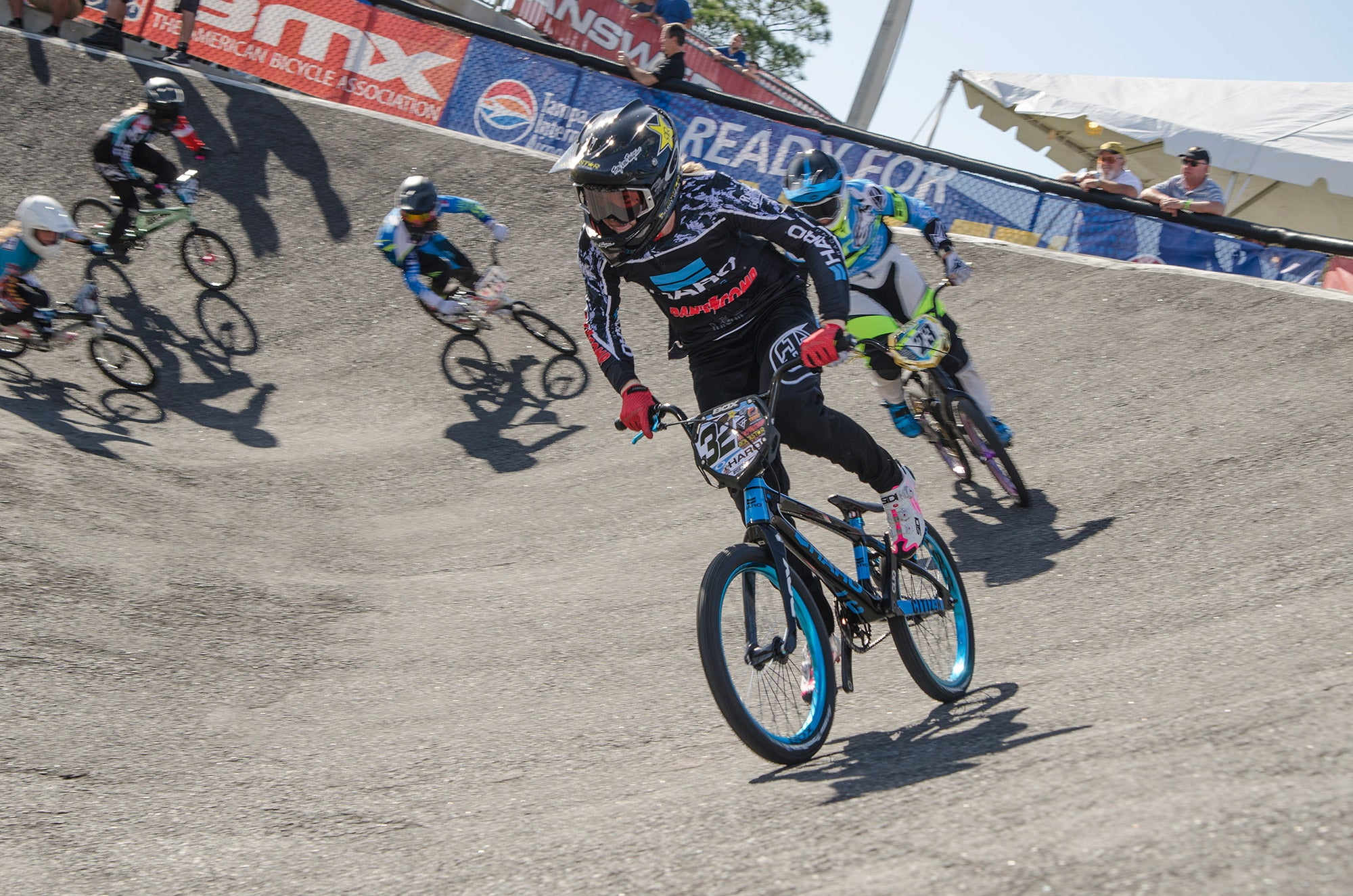 action photo of bmx racing