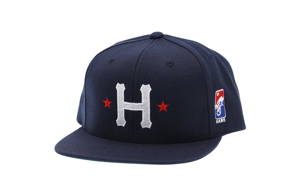 2019 Haro Big H Flat Bill Snap Back Hat Navy front.