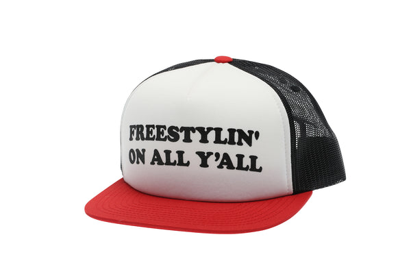 2019 Haro Freestylin Trucker Snap Back Hat Red White Black front.