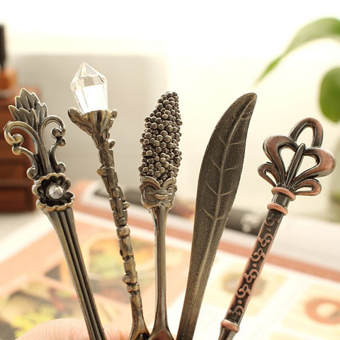 Carved Bronze Petite Spoon and Fork Set - Seahorse Mansion - coastal decor gifts