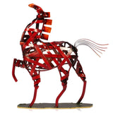 Red Metal Horse Sculpture - Seahorse Mansion - coastal decor gifts