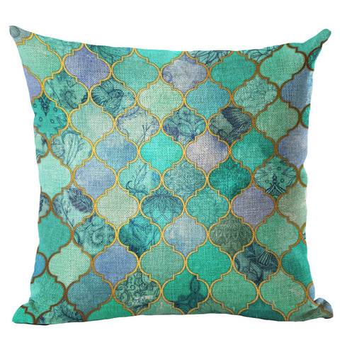 Tile Art Throw Pillow Cover - 18 patterns - Seahorse Mansion - coastal decor gifts