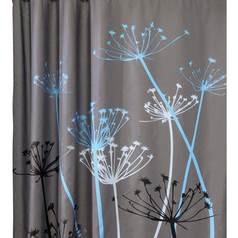 Dandelion Grey Shower Curtain - Seahorse Mansion - coastal decor gifts