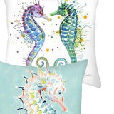 Throw Pillow Cover | Serene Seahorse - 2 styles - Seahorse Mansion