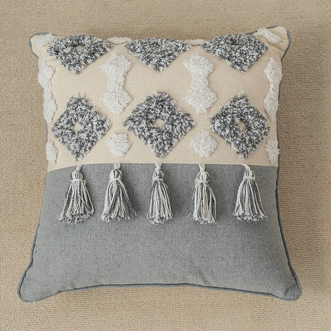 Throw Pillow Cover | Grey Diamond Neutral - Embroidered - Seahorse Mansion