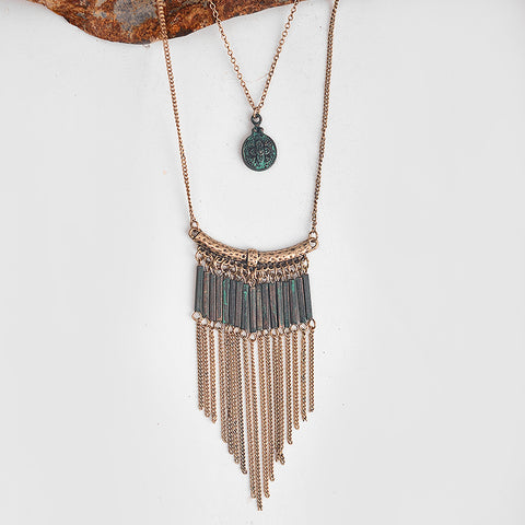 Layered Chain Tassel Pendant Necklace - Metal Patina Bohemian - Seahorse Mansion - coastal decor gifts
