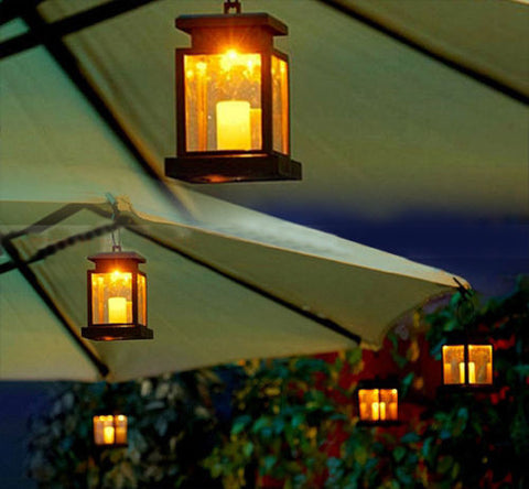 Hanging Outdoor Lantern - LED Solar - Seahorse Mansion - coastal decor gifts