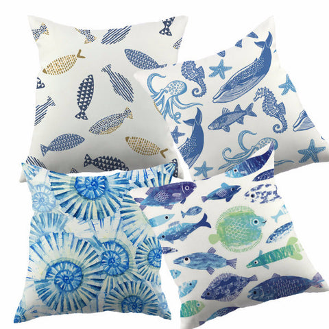 Blue Ocean Life Throw Pillow Covers - 4 patterns in 2 sizes - Seahorse Mansion - coastal decor gifts