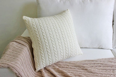 Cable Knit Throw Pillow Cover - 6 colors - Seahorse Mansion - coastal decor gifts