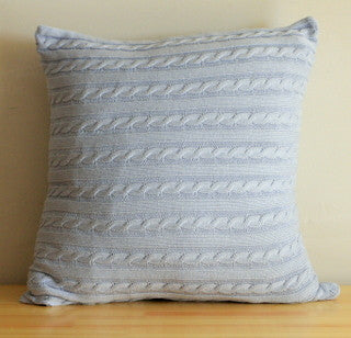 Cable Knit Throw Pillow Cover - 6 colors - Seahorse Mansion