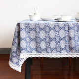 Tablecloth | Blue Medallion - 5 sizes - Seahorse Mansion - coastal decor gifts
