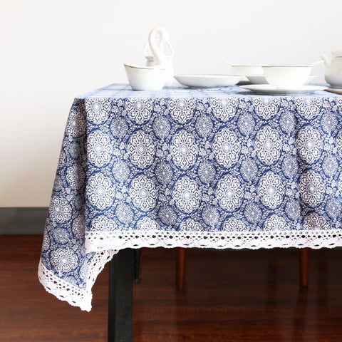 Tablecloth | Blue Medallion - 5 sizes - Seahorse Mansion