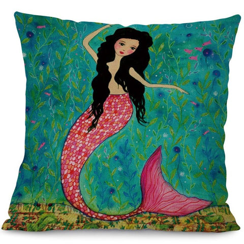 Mermaid Brights Throw Pillow Cover - 4 styles - Seahorse Mansion - coastal decor gifts