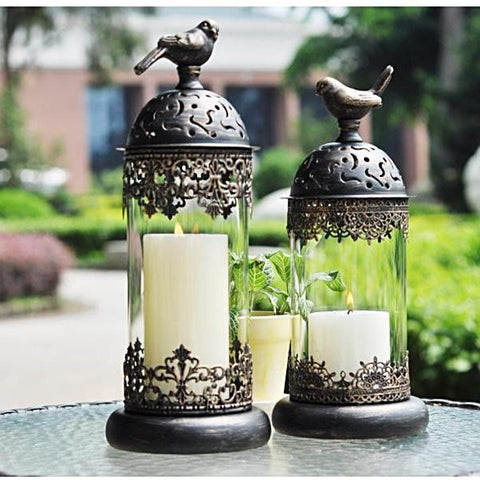 Candle Holder | Filigree Bird Ironwork  - 2 colors, 2 sizes - Seahorse Mansion - coastal decor gifts