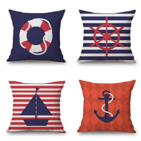 Navy & Red Nautical Throw Pillow Covers - 4 Patterns - Seahorse Mansion - coastal decor gifts