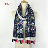 Tasseled Wrap Scarf | Women's Cotton Voile - 22 styles - Seahorse Mansion