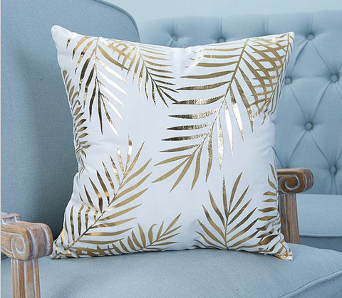 Golden Tropics Throw Pillow Covers - 2 Designs - Seahorse Mansion - coastal decor gifts
