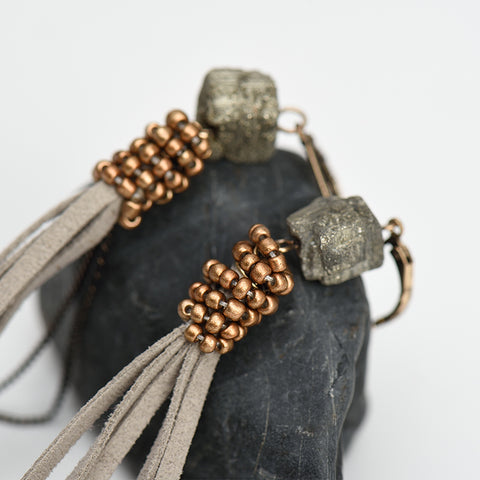 Tassel Earrings - Stone Beaded Suede - Seahorse Mansion - coastal decor gifts