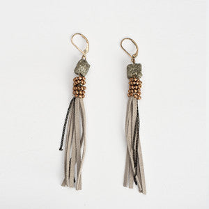 Tassel Earrings - Stone Beaded Suede - Seahorse Mansion
