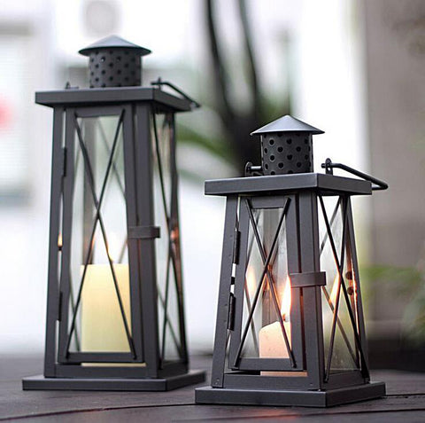 Iron Winter Lantern - 2 colors, 2 sizes - Seahorse Mansion - coastal decor gifts
