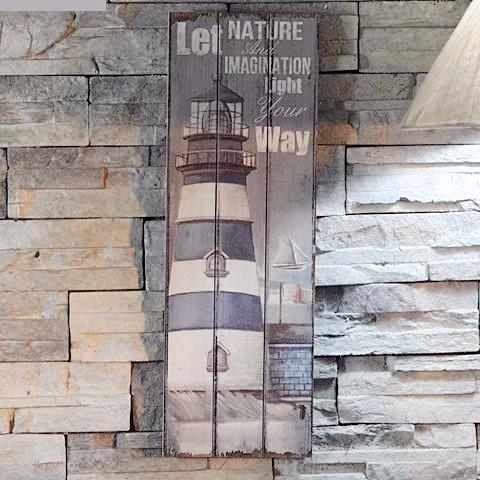 Weathered Lighthouse Wooden Sign - Seahorse Mansion