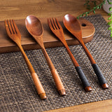 Wooden Long Handled Spoon and Fork Set - 2 colors - Seahorse Mansion
