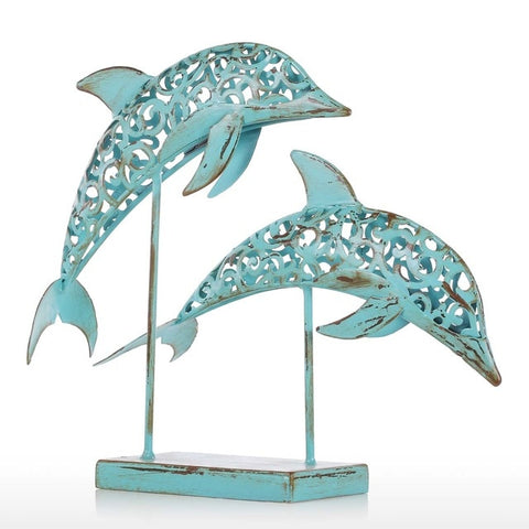 Metal Sculpture | Two Dolphins - Handmade - Seahorse Mansion