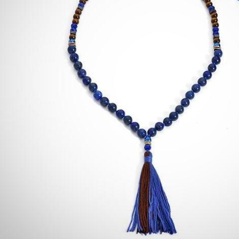 Tassel Necklace | Blue and Wood Beaded - Seahorse Mansion - coastal decor gifts