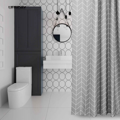 Shower Curtain | Geo Grey - 3 sizes - Seahorse Mansion