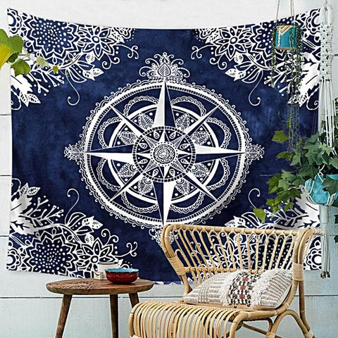 Beach Throw Tapestry | Mystic Compass - 8 patterns, 4 sizes - Seahorse Mansion