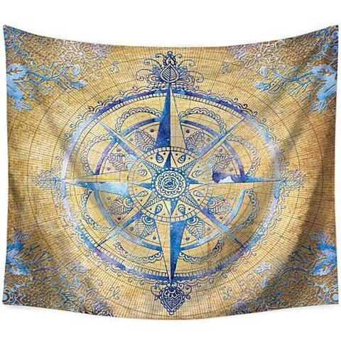 Beach Throw Tapestry | Mystic Compass - 8 patterns, 4 sizes - Seahorse Mansion - coastal decor gifts