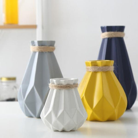 Ceramic Vases | Matte Finish Geometric - 4 colors, 4 sizes - Seahorse Mansion