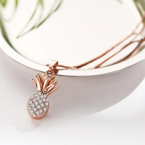 Pineapple Necklace | Inset Crystal - Gold, Silver or Rose Gold - Seahorse Mansion