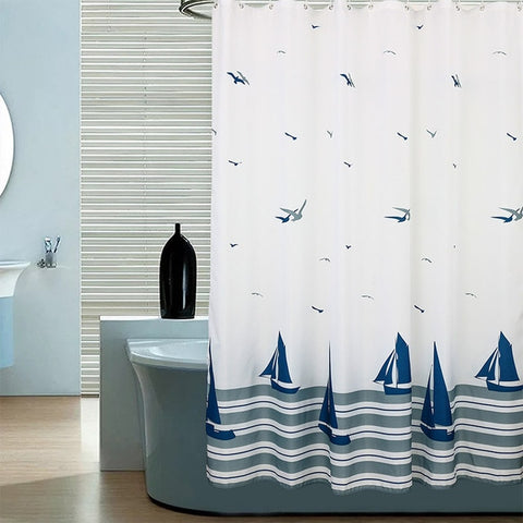 Shower Curtain | Seagulls & Sailboats - 9 sizes - Seahorse Mansion