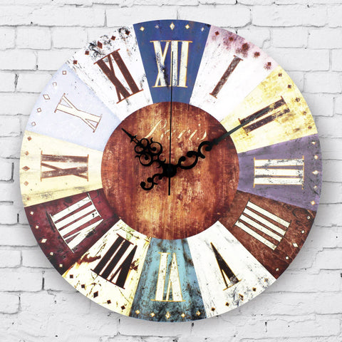 Retro Worn Finish Clock - Seahorse Mansion - coastal decor gifts