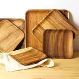 Square Acacia Wood Plates - 3 sizes - Seahorse Mansion