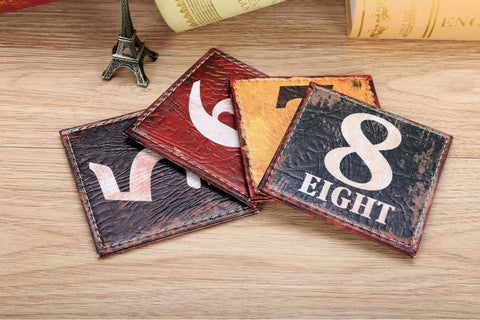 Vintage Number Coasters #5-8 - Seahorse Mansion