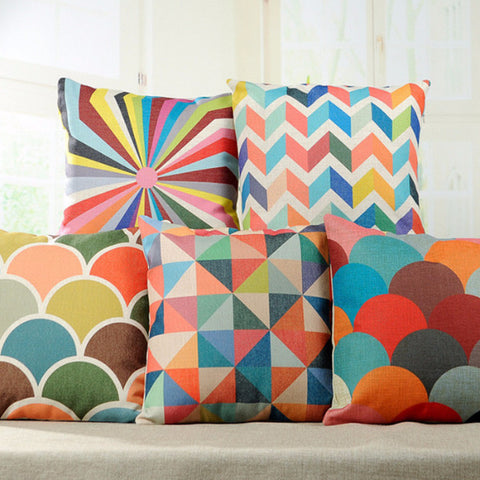Geometric Bliss Throw Pillow Covers - 6 styles - Seahorse Mansion - coastal decor gifts